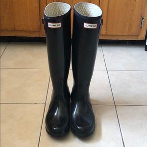 EUC Hunter Rain Boots Black Glossy Sz 8